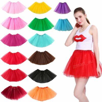 Womens Girls Princess Ballet Tulle Tutu Skirt Wedding Prom Mini Dress Dancewear