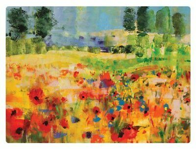 Pimpernel Impressionist Flowers Yellow Placemats - Set of 6 by (i5L)