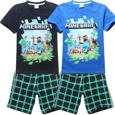 Minecraft Short Sleeve T-Shirt Pants Unisex Basic Set Kids Camouflage 116-158cm