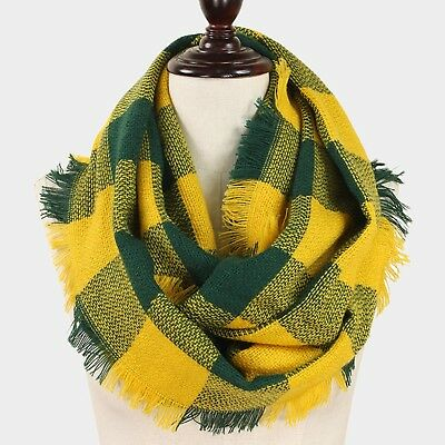 Green Bay Packers Themed Green/Gold Buffalo Check Infinity Scarf with Fringe