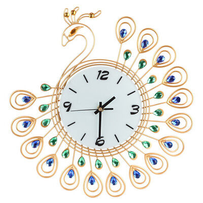 Vintage Style Metal Peacock Antique Wall Clock for Home Kitchen Office