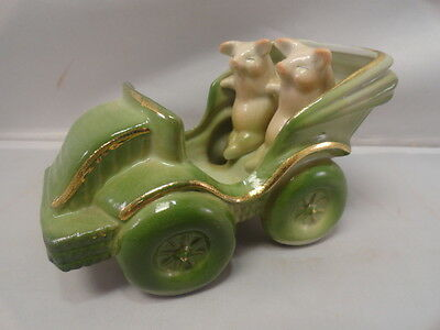 Vintage German Pink Pigs in Carriage Early Car Porcelain Twins Figurine Germany