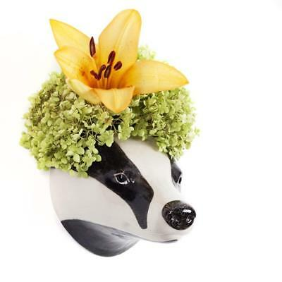 Badger Flower Wall Vase By Quail Ceramics Wall Mounted Badger Head