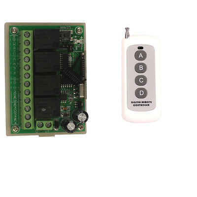 100M Wireless Remote Relay Switch 12V 4CH Relay Module Board Transceiver Control