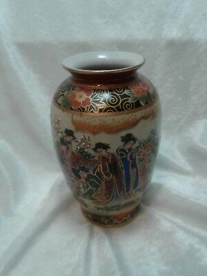 Satsuma Vase Made In China Hand Painted Cherry Blossom Women In