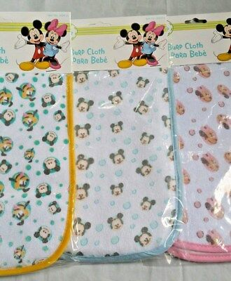 BRAND NEW DISNEY Burp Cloths  Choose from 3 Designs Mickey, Minnie Or Pluto