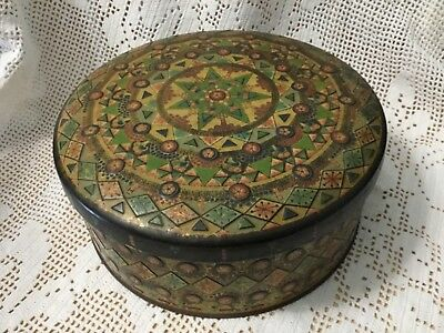 Antique Vintage Floral Mosaic Round Cannister Storage Button Tin