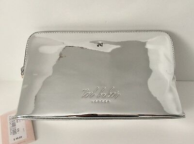 242e59a8b NWT Ted Baker London  49 Lauran Mirrored Cosmetic Make Up Wash Bag Case  Silver