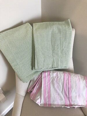 Pottery Barn Kids Lot Green Gingham Curtains Striped Pastel Crib Dust Ruffle