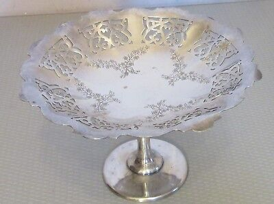 vtg Sovereign SILVER PLATE TAZZA lacy floral etched & pierced footed compote