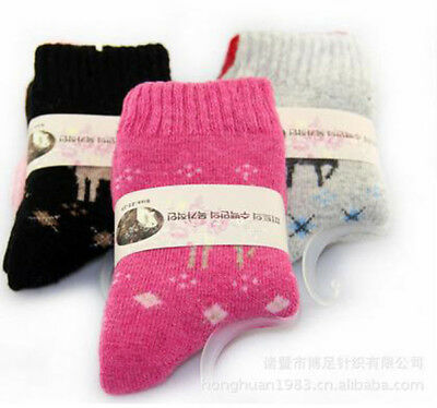 3 Pairs New 100% Wool Cashmere Women's Socks Soft Warm Christmas Gift Deer 5-8