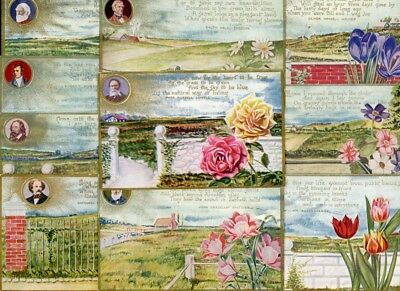 POETS and POETRY. 10 Different Early Postcards. All cards pictured!