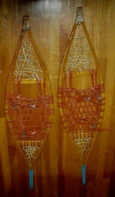 Snowshoes Vintage Antique Wooden Handmade Snowshoes pointed top unique rare