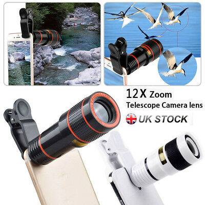 Universal HD 12x Optical Telescope Camera Lens Zoom Clip-on For Mobile Phone PRR
