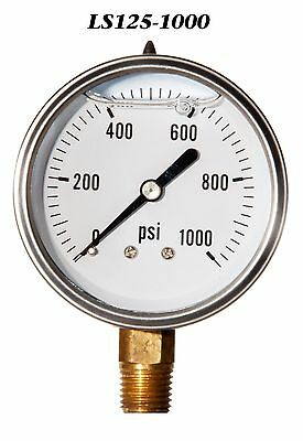 New Hydraulic Liquid Filled Pressure Gauge 0-1000 PSI