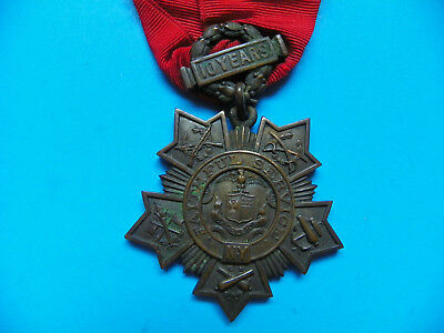 U.s. Original Circa 1898 New York 10 Year National Guard Tiffany & Co. Medal
