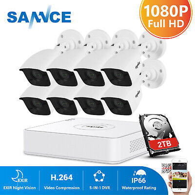 SANNCE 1080P HMDI 8CH DVR Full 2MP Video Security Camera System IR Night Vision