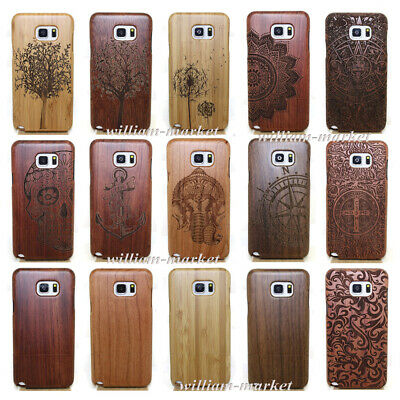 Natural Carved Wood Bamboo Case Back Cover+Film For Samsung S8 S7 Edge Note 5