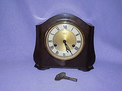 Vintage~Smiths Enfield ~Bakelite~Chiming Mantle clock. Wind Up Working With key