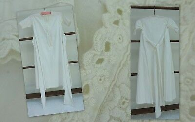 Antique White Cotton Embroidered Baby Nightdress Dolls Victorian Gown