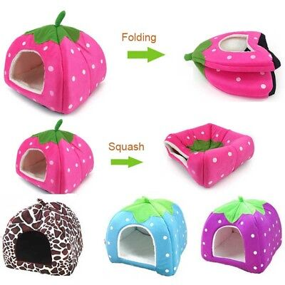 Pet Dog Cat Bed House Puppy Soft Warm Cushion Basket Pad Doggy Strawberry Kennel
