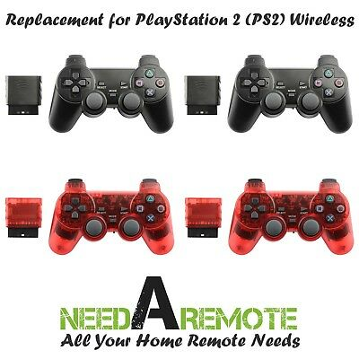 4x For Sony PS2 2.4G Wireless Twin Shock Game Controller Joystick Black Red