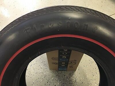 7.75 15 tires, Firestone Deluxe Champion, red stripe bias ply, set of 4