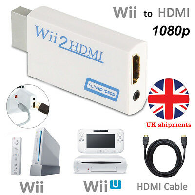 Wii to HDMI HD TV Video Adapter Converter Upscaling 1080P 720P & HDMI Cable Line