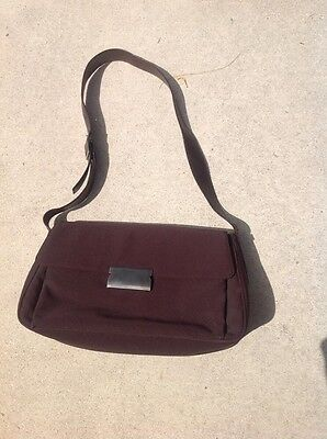 SALVATORE FERRAGAMO BROWN nylon signature links shoulder bag purse ... 8b25bc3f2f0fc