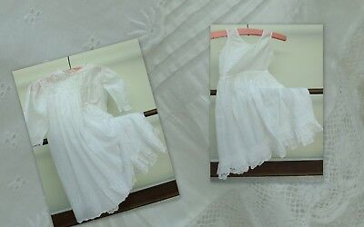 Antique Embroidered Baby Dress & Petticoat Dolls Early 1900's Christening Lace