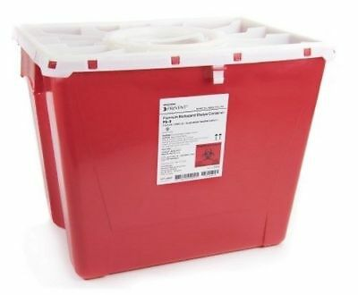 Case of 9 Sharps Container McKesson Prevent 13.5H X 17.3W X 13L Inch 8 Gal. Red
