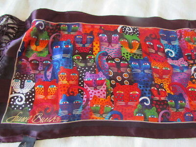Laurel Burch Silk Scarf Cats oblong Fringe Purple Red Excel