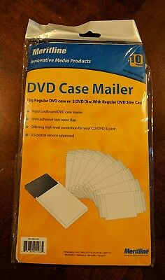 Meritline DVD Case Mailer - Adhesive Tear Flap DVD White (10 Pack)