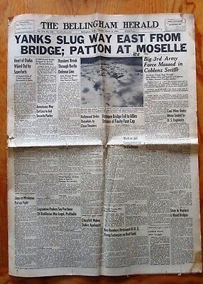Bellingham Herald Newspaper March 15 1945 Patton at Moselle Osaka Bombed