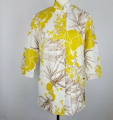 VTG 60s Womens Hawaiian Blouse Tunic Paradise Hawaii Honolulu 3/4 Sleeve Mustard