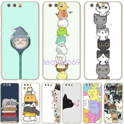 Cute Lucky Cat Kitty Hard Phone Cover Case for huawei P8 P9 P10 P20 Lite Pro