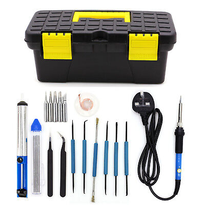 60W Soldering Iron Kit Electronic Welding Irons Tools Box Adjustable Temperature