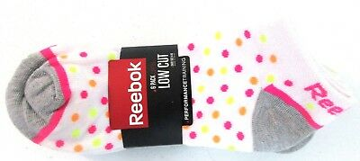 Reebok 6-Pack Ladies Low Cut Performance  White with dots Socks sz 9-11 4821 []
