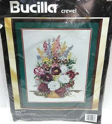 Bucilla Grand Glory 40936 Crewel Embroidery Kit Floral 1994 Glenda Turley