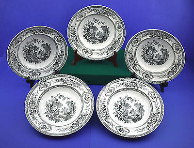 "Antique Powell & Bishop ""Parma""  Rimmed Soup Bowls, Set of 5 - Circa 1870's"