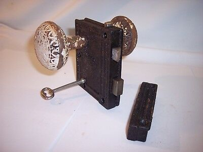 Victorian Eastlake Door Knob Mortise Corbin Ornate Antique Vintage Lot E & KEY