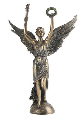 "Ancient Greek Methology Goddes Nike Of Victory 13.5"" Cold Cast Bronze Statue"