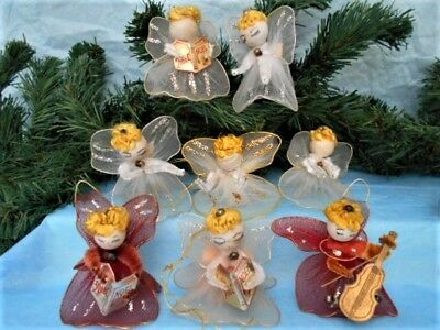 8 Vintage Spun Cotton Head Tulle Wings & Bodies ANGEL Christmas Ornaments -Japan