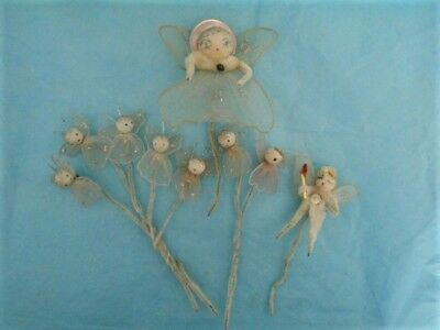 9 Vintage ANGEL Spun Cotton Heads Netting Robes Chenille Package Ties