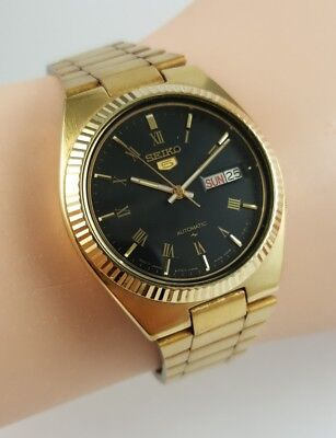 Vintage Seiko 5 Automatic. 7009-8341. Gold Tone Dress watch