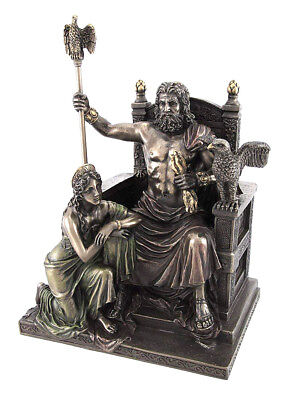 """Greek Mythology Main God Zeus And Hera At the Throne 11"""" Cold Cast Bronze Statue"""