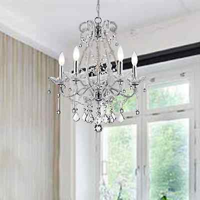 Crystal 5 Light Chrome Finish Antique Ceiling Hanging Chandelier Lamp Pendant
