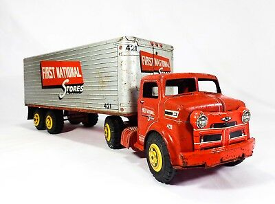 Rare Louis Marx & Co Vint First National Stores Pressed Steel Toy Trailer Truck