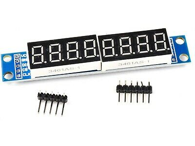 8-digit serial LED display, MAX7219 chip, Arduino library, 9.5mm digits  #2549