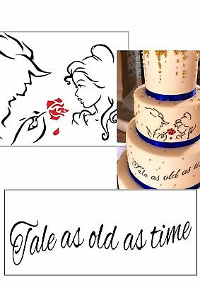 beauty and the beast silhouettes edible a4 icing sheet cake